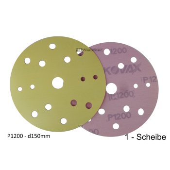 Kovax Yellow Film d150 p1200 Foil Disc Dry Grinding 15-Hole