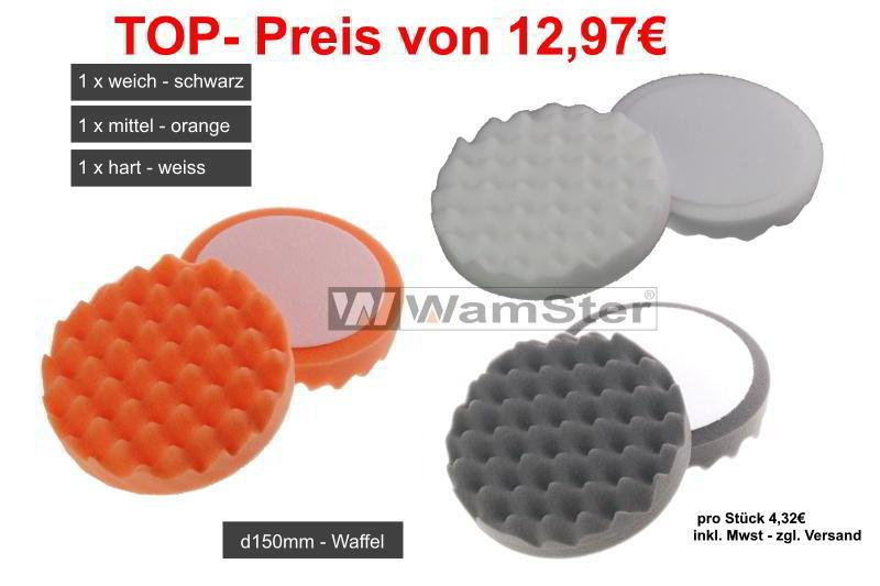 3 x WamSter Polierschwamm waffel